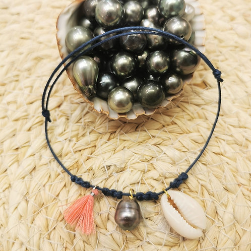 Bracelet cordon perle de Tahiti 12 coloris au choix