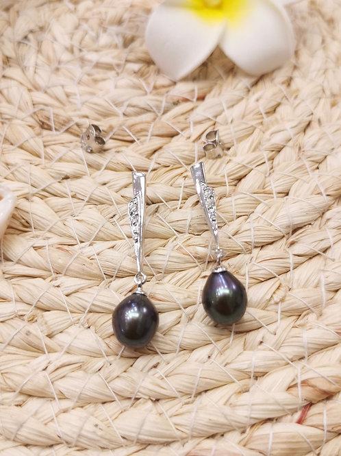 boucles d'oreilles pendantes perles shamani paris