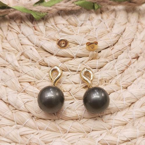 Boucles d'oreilles pendantes perles de Tahiti et diamants