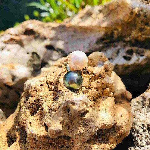 bague perle de culture de tahiti shamani creaperles