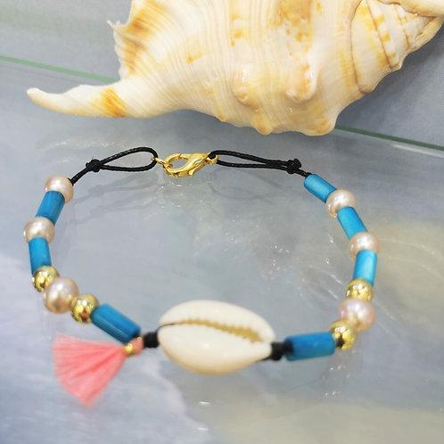 bracelet coquillage cauri et perles shamani