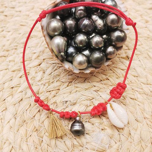 Bracelet cordon coquillage cauri et perles de culture de Tahiti