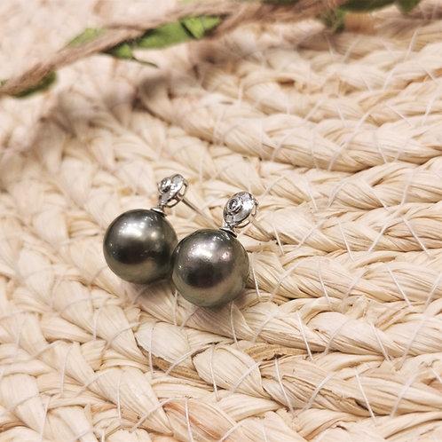 boucles d'oreilles perles noires de Tahiti