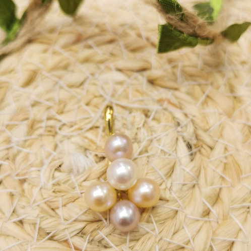 Pendentif perle de culture multicolore