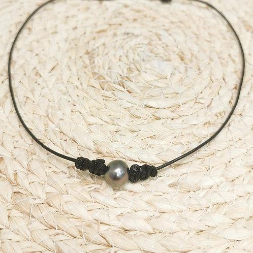 Collier cordon noir perle de Tahiti