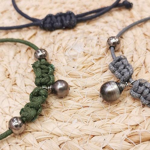 Bracelet cordon mixte perle de Tahiti