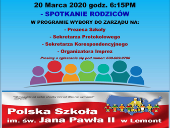 Annual Parent Meeting for Polish School March 20th