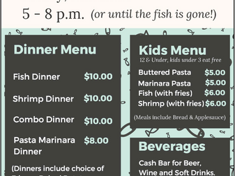 Friday Fish Fry March 13th 5-8 PM
