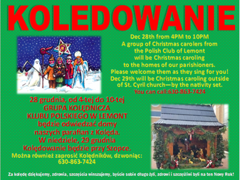 Polish Club Christmas Caroling December 28th, 4-10 PM