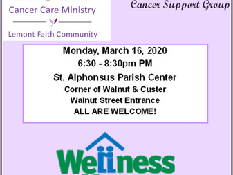 UPDATE!! MEETING CANCELED!! Cancer Care Ministry Support Group Monday, March 16th