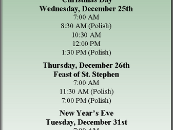 Christmas Season Schedule of Services 2019