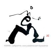 homme calligramme calligraphie mot yves