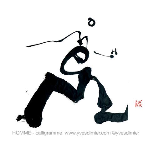 homme calligramme calligraphie d'un mot ©yvesdimier