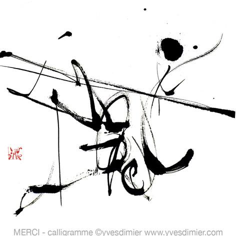 merci calligramme calligraphie d'un mot ©yvesdimier