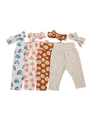 Newborn Floral Cotton Soft Pants & Headband