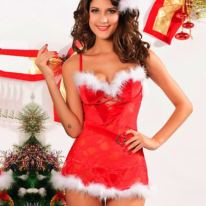 Christmas Festival Red Hollow Lingerie Thong Set Sexi Para Mujer Lingerie