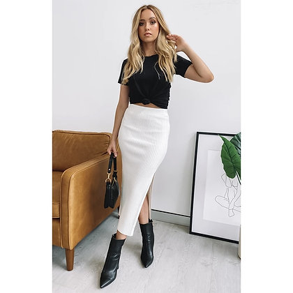 Elastic High Waist Knit Midi Skirt / Googoostore.com