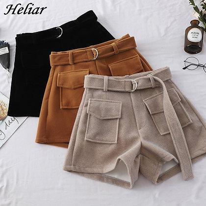 HELIAR - Wide Legs High Waist Wool Shorts / Googoostore.com