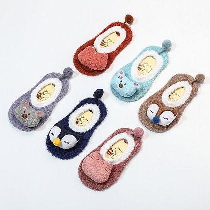 New Cartoon Children Toddler Infant Non-Slip Floor Socks Feather Yarn