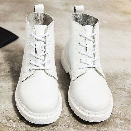 Genuine Leather White Ankle Boots Motorcycle / Punk Botas Mujer 2020 Spring