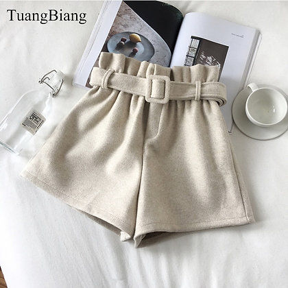Thick Sashes Spring Elastic - High Waist Shorts