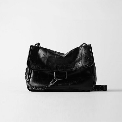 New Rhombus Black Rock Soft Single Shoulder Oblique Span Chain Bag Luxury
