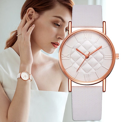 White Leather Rose Gold Watch