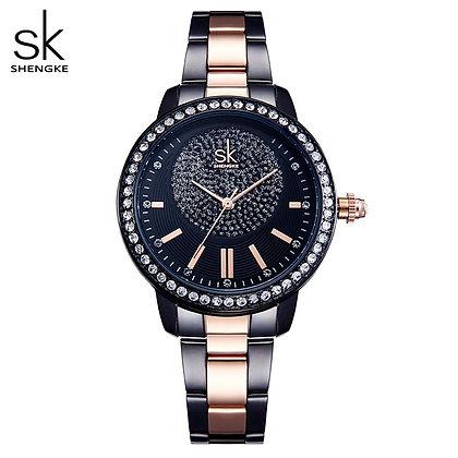 Shengke Rose Quartz / Brand Crystal Luxury Female Wrist Watch