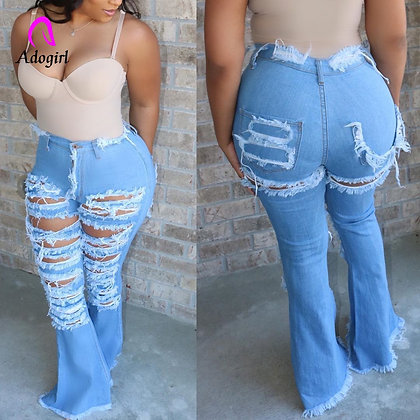 Ripped Jeans /High Waist Jeans Vintage Flare With Hole Patchwork Bell Bottom