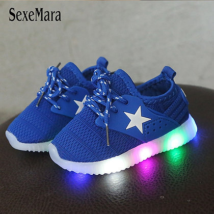 LED Light Shoes Kids 1-3 Years Baby Sneakers With Backlight/ Toddler Breathable