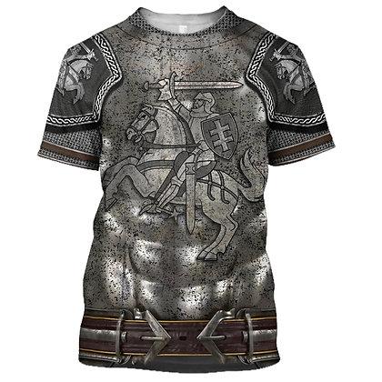 3D Printed Knight Medieval Armor Men T Shirt Knights Templar Harajuku