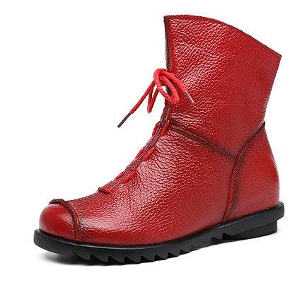 Genuine Leather Non Slip Rubber Zipper Fur Boots