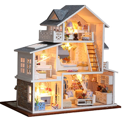 CUTEBEE DIY Dollhouse Wooden Doll Houses Miniature Doll House Furniture Kit