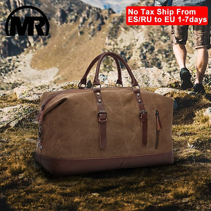 MARKROYAL - Canvas Leather Travel Bags / Tote Large Weekend Bag