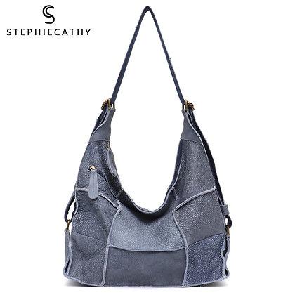 SC Vintage Genuine Leather Shoulder bag Casual Retro Handmade Patchwork Knapsack