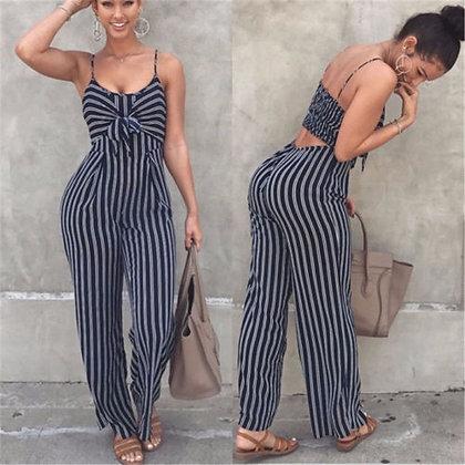Blue Bodycon Backless Stripe Jumpsuits / Plus Size