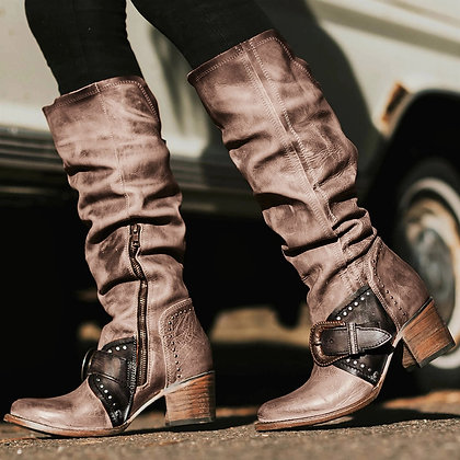 Casual Knee-High Cowboy Boots / Vintage Retro Zipper