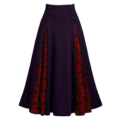 Gothic Style Pleated Skull Print High Waist Skirt