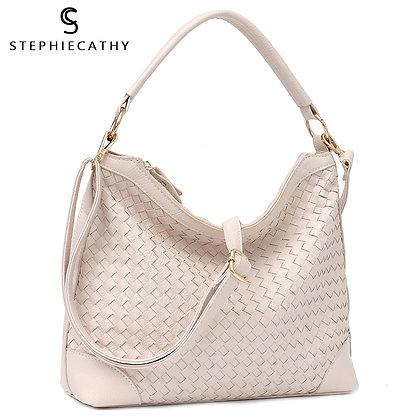 SC Fashion Luxury Faux Leather Handmade Woven Hobo Shoulder Messenger Bag Tote