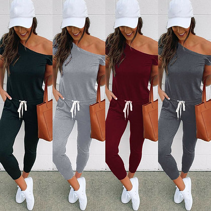 Off Shoulder Bodycon Long Sleeve Jumpsuits /Black Gray Wine Red