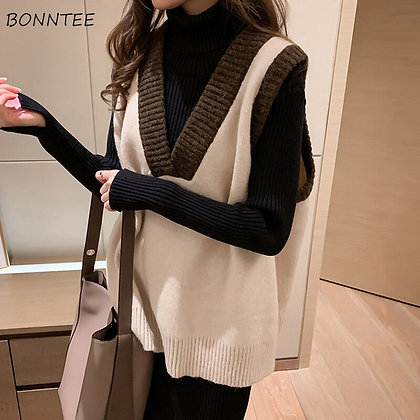 Vests Women Patchwork Korean Style High Quality Knitted Retro Pullover