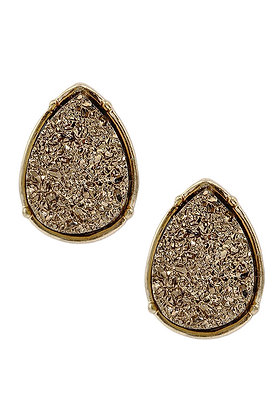 Druzy Teardrop Post Earrings