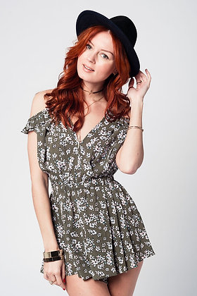 Green Romper With Floral Print and Ruffle Detail