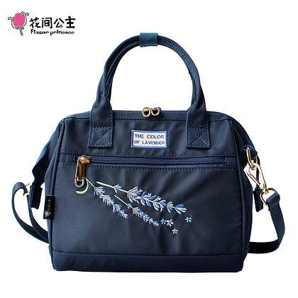 Flower Princess 2-Way Square Boston Bag Embroidery Nylon Shoulder Bag