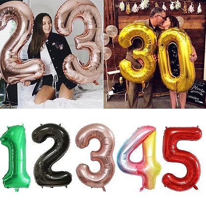 Big Rose Gold Foil Helium Number Balloon Figures