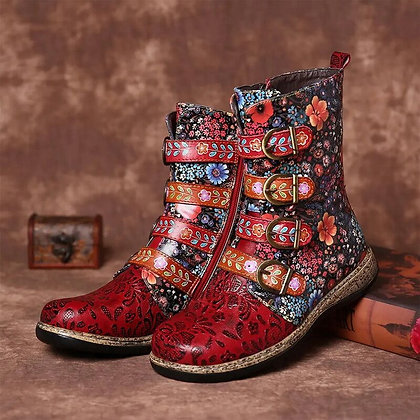 Retro Printed Leather Boots