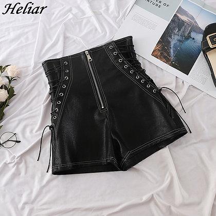 HELIAR - PU Leather Cross Bandage Sexy Hot Shorts at Googoostore.com
