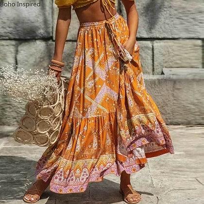 Floral Spliced Long Boho Chic Elastic Slits Skirts