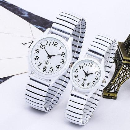 Vintage Business Elastic White Black Quartz Watch
