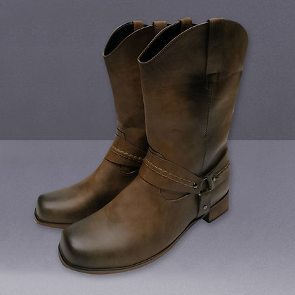 Quality Leather Calf Boots / Buckle Slip on Cowboy Boots